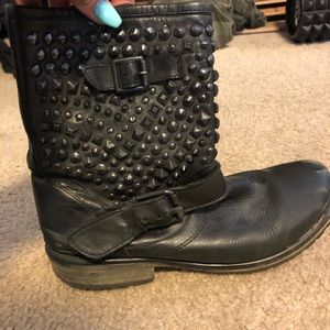 Distressed and studded Steve Madden combat boots
